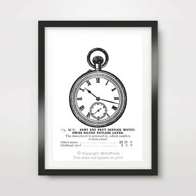 POCKET WATCH BEDROOM ART PRINT Poster Room Home A4 A3 A2 cm inches Wall ALL SIZE