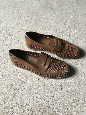 Mens Office Brown Woven Shoes Size 9