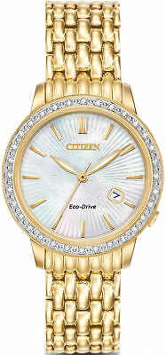 Women's Gold-Tone Citizen Eco-Drive Diamond Watch EW2282-52D