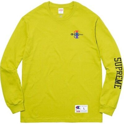 4bed5c72a527 SUPREME X CHAMPION Stacked C L/S Tee Bright Green L box logo camp F ...