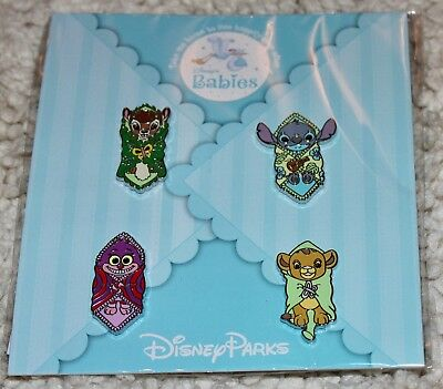 NEW Disney Parks Blanket Baby Babies 4-Pins Booster Pack Set Bambi Simba Stitch