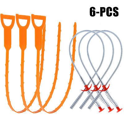 6 Pack Drain Snake Hair Drain Clog Remover Cleaning Tool for Bathroom Kitchen
