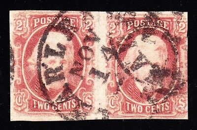 US CSA 8 2c Jackson Used Pair w/Confederate Stamp Alliance Certificate SCV $1000