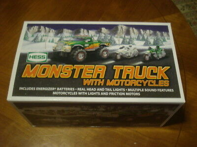 2007 Hess Monster Truck With Motorcycles-New