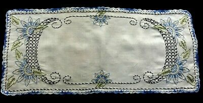 """Antique Country Style Hand Embroidery, Crochet Hem Runner 29 1/2"""" x 13 1/2"""","""
