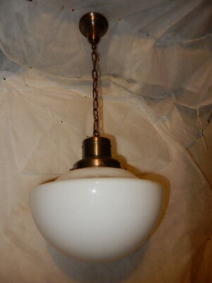 Single Large Schoolhouse Ceiling Fixture Electric on Brass Fixture