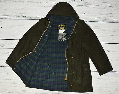 BARBOUR Men's Green Cotton WAXED Hoodie Jacket DURHAM with Check !  C42/107 cm