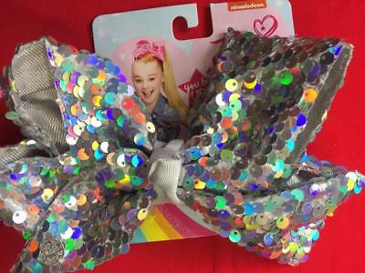 JOJO SIWA Large Cheer Signature Silver Hologram Disco Sequins Hair Bow FREE SHIP