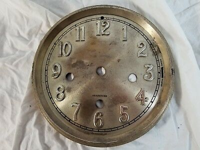 Vintage Antique Clock Face w Raised Numbers Chime Silent Four Holes Westminster