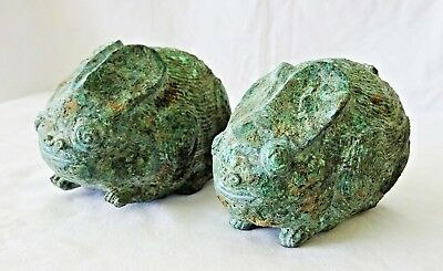 11-13C Pair S.E. Asian Cambodian Khmer Bronze Hare Figures Statues  (Mil)