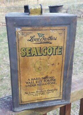 Vintage Lowe Brothers Sealcote Embossed Square Body Paint Varnish Can