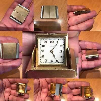 Antique Vintage Cartier 18ct Yellow Gold Travel Clock Watch 1930s Very Rare One