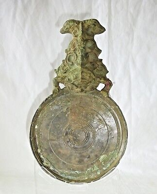 8-14C Cambodian S.E. Asian Khmer Excavated Khmer Bronze Rahu Handle Mirror (Mil)