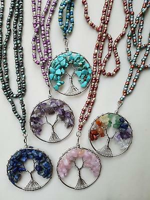 genuine gemstone chip tree of life long length pendant necklace