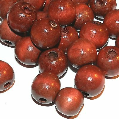 WL648L2 Red-Brown 18mm Semi- Round Wood Beads 4oz Package (64pcs)
