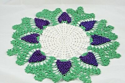 "Large Vintage Hand Made Crocheted 17"" RAISED GRAPES DOILY Doilie 3-D Fancywork"