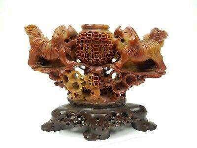 Gorgeous Chinese Intricately Carved Soap stone Foo Dog incense Burner 6.5""