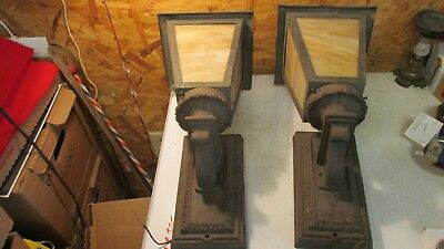 Antique 1900 Cast Iron Porch Lights & Slag Glass Shades- Pair
