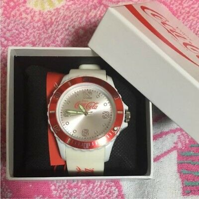 Excellent! Coca-Cola watch With instruction Boxed white silicon Not for sale