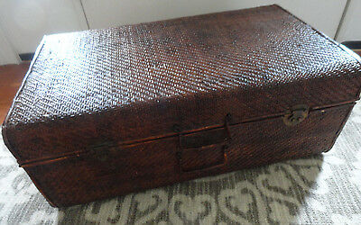 Antique RATTAN TRUNK Suitcase Circa 1850-1890 Qing Dynasty Certificate Antiquity