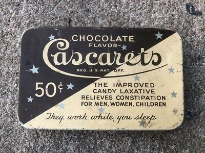 Vintage Cascarets Tin Chocolate Flavor Candy Laxative Constipation