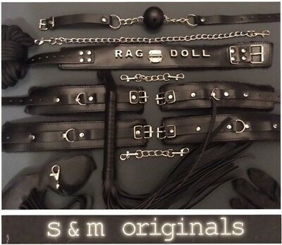 14x Bondage kit slave collar gag rope whip hand cuffs ankle restraints fetish...