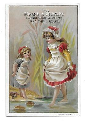 Girls Wading Gowans & Stovers Soap  Victorian Trade Card Likens Pa. Miners Soap