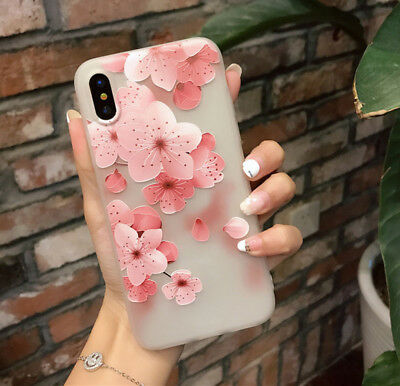 3D Cute Floral Rubber Case Soft Silicone Slim Cover For iPhone 8 6s 7 Plus X 10