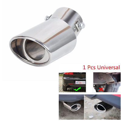 1PC Silver Car Chrome Stainless Rear Round Curved Exhaust Tail Pipe Muffler Tip