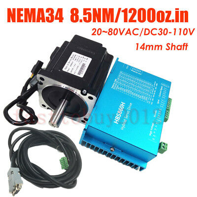 4 Axis 8.5NM Nema34 Closed Loop Stepper Hybrid Servo Drive Motor Kit AC/DC Power