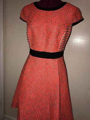 438b2b031 EUC Ted Baker Qiara Skater Fit Flare Dress Sz 2 Neon Orange Black USA size 4
