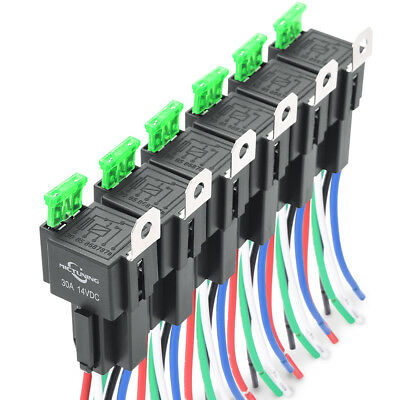 12V 6pcs Car Relay DC12V 30A 4 PIN SPST Auto Relay with 30 AMP Fuse Holder Auto