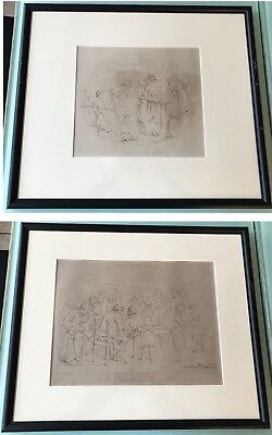 2 Antique F.O.C. Darley Lithographs Glimpse at the World & Husking Bee - Framed