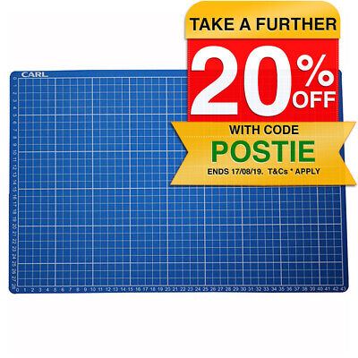 Carl A3 45cm Heavy Duty Self Healing Paper Cutting Mat Craft Board Grid Line Pad