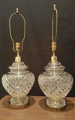 Large Pair of Vintage Barrel Brass Waterford Crystal Lamps 7550