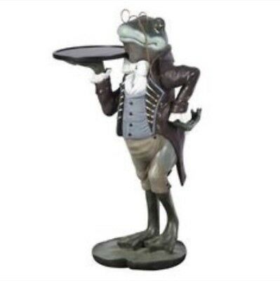 """- Frog Butler Statue - Frog Holding a Serving Tray - Frog 33"""" Inches High"""