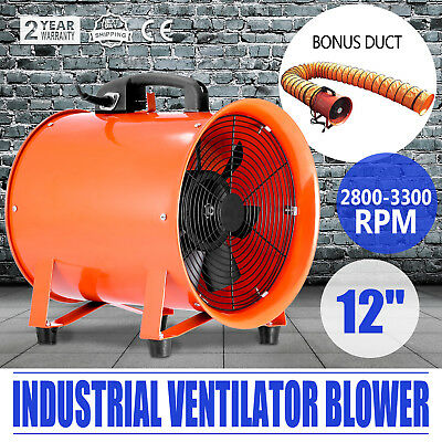 12'' Industrial Ventilator  Fan Blower 5m Duct Hose Portable W/ Handle Chemical