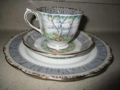 Royal Albert Silver Birch Tea Cup, Saucer, and Plate Bone China Made in England