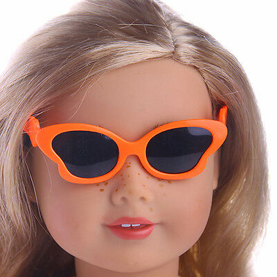 Cute Handmade Butterfly glasses  For 18inch American Girl Doll Party Orange 2017