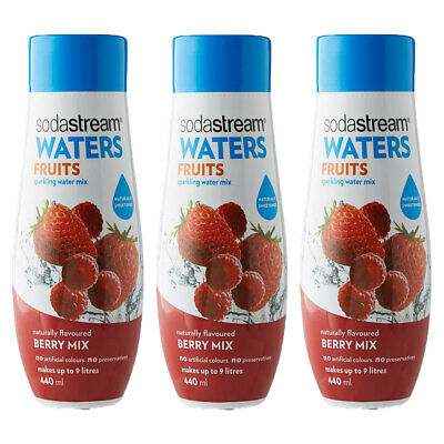 3x Sodastream Waters Fruits Berry Mix 440ml Sparkling Water Syrup/Sweetened Mix