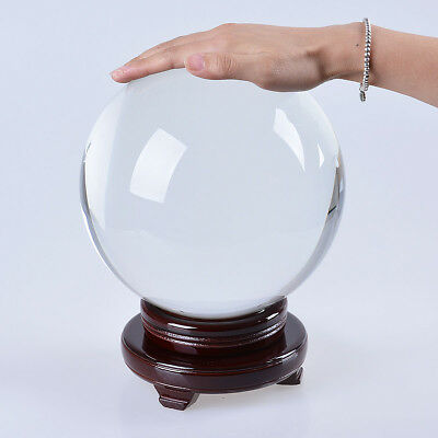 """LONGWIN 200mm 7.87"""" D Clear Crystal Ball Glass Sphere Photo Props Free Stand"""