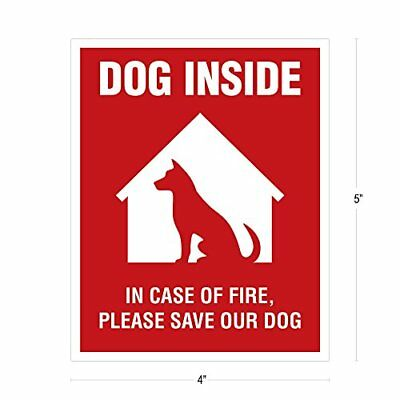 Dog Inside Sticker 4 Pack 4x5 Inches Alert Safety Window Sign Rescue Pet Decal