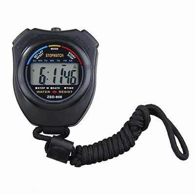 Handheld Digital LCD Chronograph Sports Counter Stopwatch Timer Stop Alarm Watch