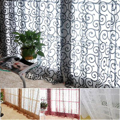 US Floral Tulle Voile Door Window Curtains Drape Sheer Scarf Valances