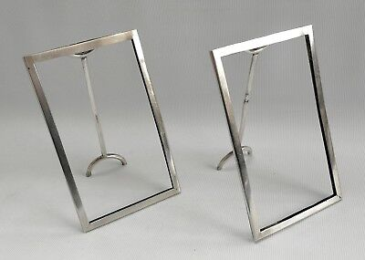 Vintage 1911 Art Deco Pair of Grey & Co Solid Silver Easel Back Picture Frames