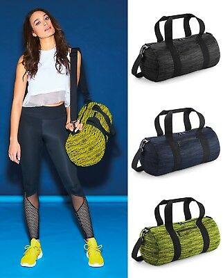 Bagbase Duo Knit Barrel Bag BG196 - 20L Gym Dance Workout Yoga Yellow Grey Navy