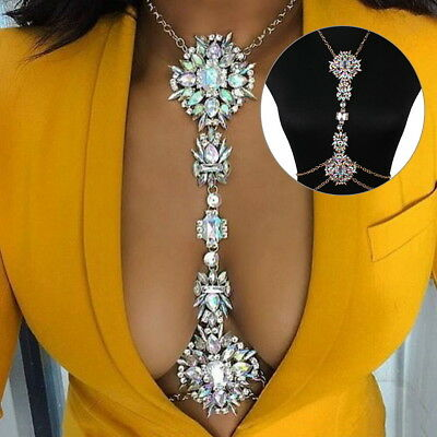 Luxury Bikini Body Chain Rhinestone Crystal Gem Pendant Harness Necklace Jewelry