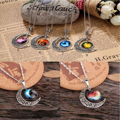 Galaxy Moon Crescent Glass Cabochon Statement Jewelry Pendant Chain Necklace