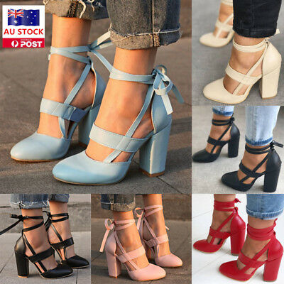 Women Block Lace Up Pointed Top  High Heel Shoes Ankle Strappy Chunky Sandals
