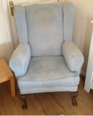 Parker Knoll Style Chair Vintage Antique Wing Back Retro. Pale Blue Good  Condit